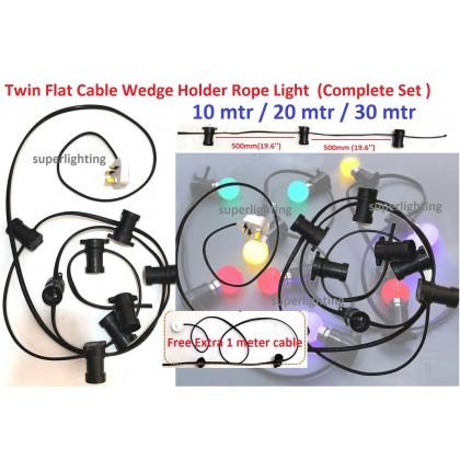 [NO BULB] Outdoor Light Twin Flat Cable Wedge Holder Rope Light Burger Stall Lampu Kedai Makan Lampu Raya Warna